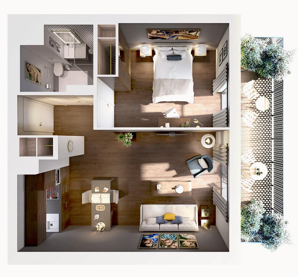 Résidence services seniors Aquila à Saint-Quentin plan appartement vue haut