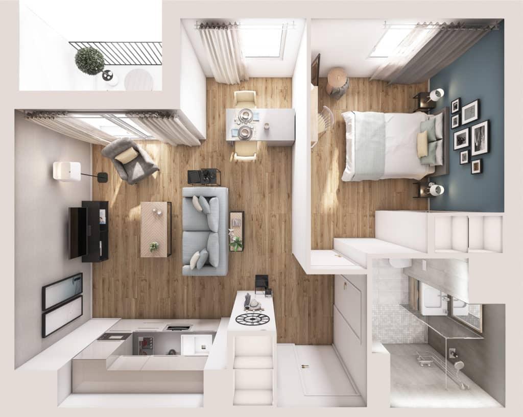 Résidence Services senior Nahoma Orlhac à Aurillac plan Appartement